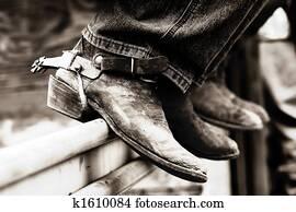 Rodeo Cowboy Boots & Spurs (BW)