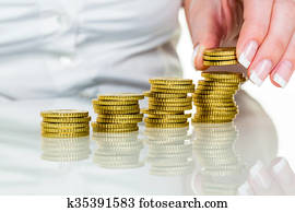 save woman with stack of coins in money