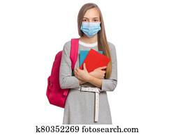 Student girl in face mask