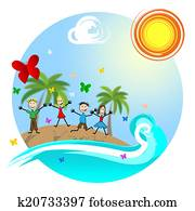 Tropical Island Means Go On Leave And Kids
