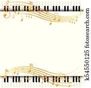 umrandungen, schablone, mit, mit, klavier, tastaturen, und, musicnotes