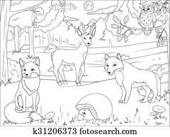 Wald Karikatur Ausmalbilder Erzieherisch Spiel Clipart