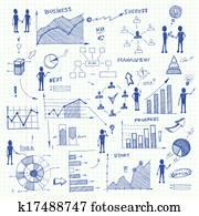 Doodle business charts infographics elements