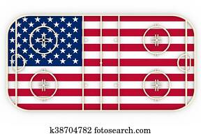 Ice hockey field textured by USA flag. Relative to world competition