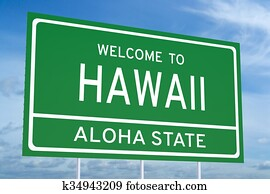 Welcome to Hawaii state road sign