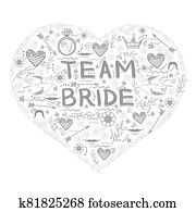 Bachelorette Party. Team Bride Text Doodle Style. Hand Written Card for Bridal Shower or Hen Party. Wedding Design