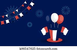 france hat flags balloons and fireworks of happy bastille day vector design