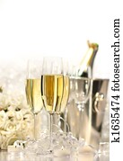 Glasses of champagne for a wedding
