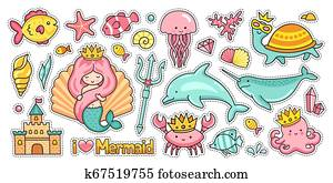 Mermaid, castle, dolphin, narwhal, octopus, crab, fish, jellyfish, turtle. Set of funny sea animals.