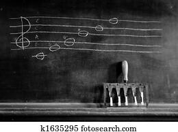 Musical scale on blackboard