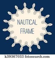 Nautical ropes frame over navy blue background