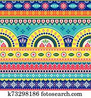 Pakistani or Indian vectopr seamless design inspired by truck art, vibrant pattern with geometric shapes and flowers
