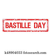 Rubber stamp with text Bastille day