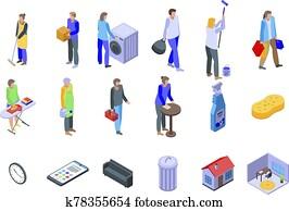 Housekeeping icons set, isometric style