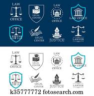 Justice, law office and legal center icons