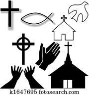 kirche, und, andere, christliche, symbol, heiligenbilder, satz
