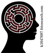 kreis- labyrinth, puzzel, als, a, gehirn, in, aufrei?en, profil
