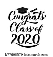 Congrats Class of 2020 lettering with graduation hat isolated on white. Congratulations to graduates typography poster. Vector template for greeting card, banner, sticker, label, t-shirt, etc.