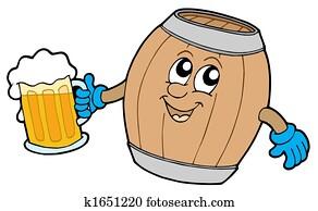 Cute wooden keg holding beer