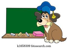 Dog teacher with blackboard