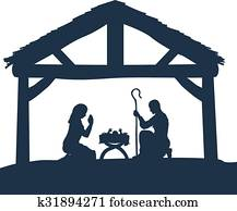 Nativity Christmas Scene Silhouettes