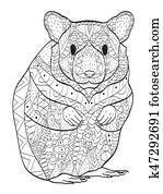 Rodent hamster coloring vector for adults