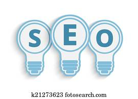 seo concept with bulb and gears
