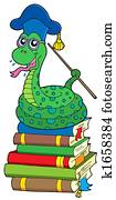 Snake teacher on pile of books