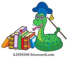 Snake teacher with books
