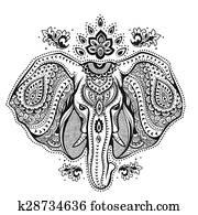 altmodisch, indischer elefant, mit, stammes-, verzierungen, abbildung