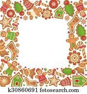 Gingerbread cookies vector frame