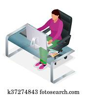 Graphic designer or artist at work. Drawing something on graphic tablet at the office. Color swatch samples. Flat 3d vector isometric illustration.