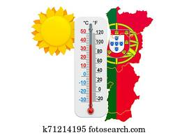 Heat in Portugal concept. 3D rendering