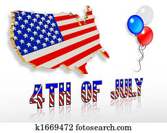 July 4th 3D Patriotic clip art designs