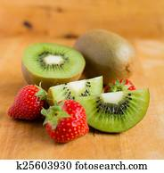 Kiwi fruit and strawberries