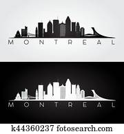 Montreal skyline and landmarks silhouette.