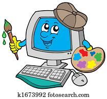 Cartoon computer artist