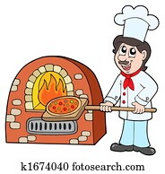 Chef baking pizza