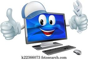 Computer repair cartoon character