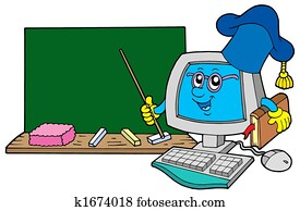 Computer teacher with blackboard