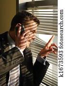 hübsch, berufung, telefon, geheimnis, mann