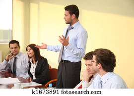 informal business meeting - man boss speech