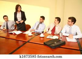 Informal business meeting - woman boss speech