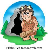Cartoon prehistoric man before cave