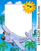 Frame with Sun and airplane