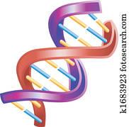 Illustration of Shiny DNA Double Helix