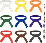 Martial arts belts in different rank colors. Vector illustration
