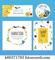 Set greeting cards and banners for Rosh Hashanah Jewish holiday