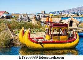 Uros floating Islands peruvian Andes Puno Peru