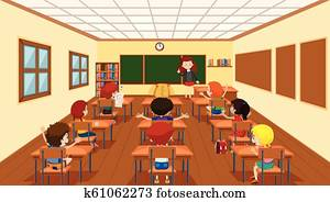 Children in classroom scene